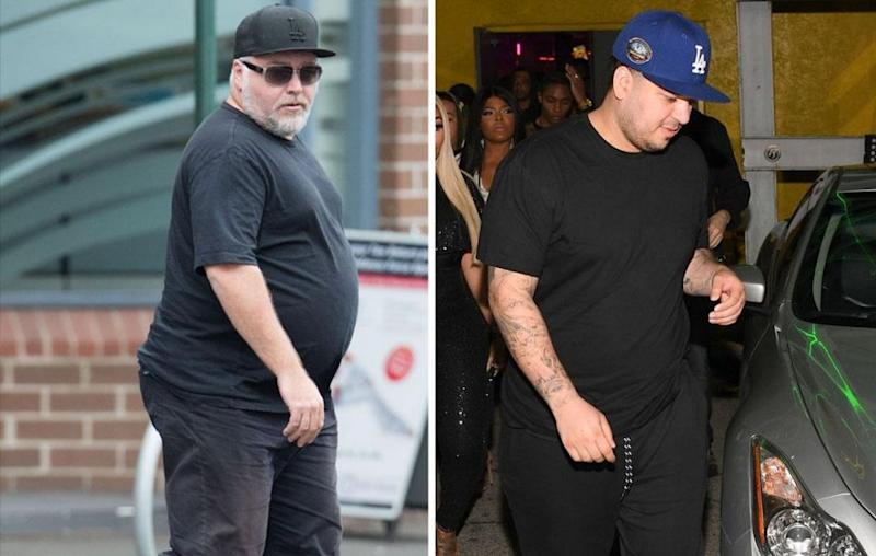 As Kyle Sandilands (L) continues his efforts to shed some kilos, the shock jock says he'd be keen for Rob Kardashian (R) to join him in doing so, as they've