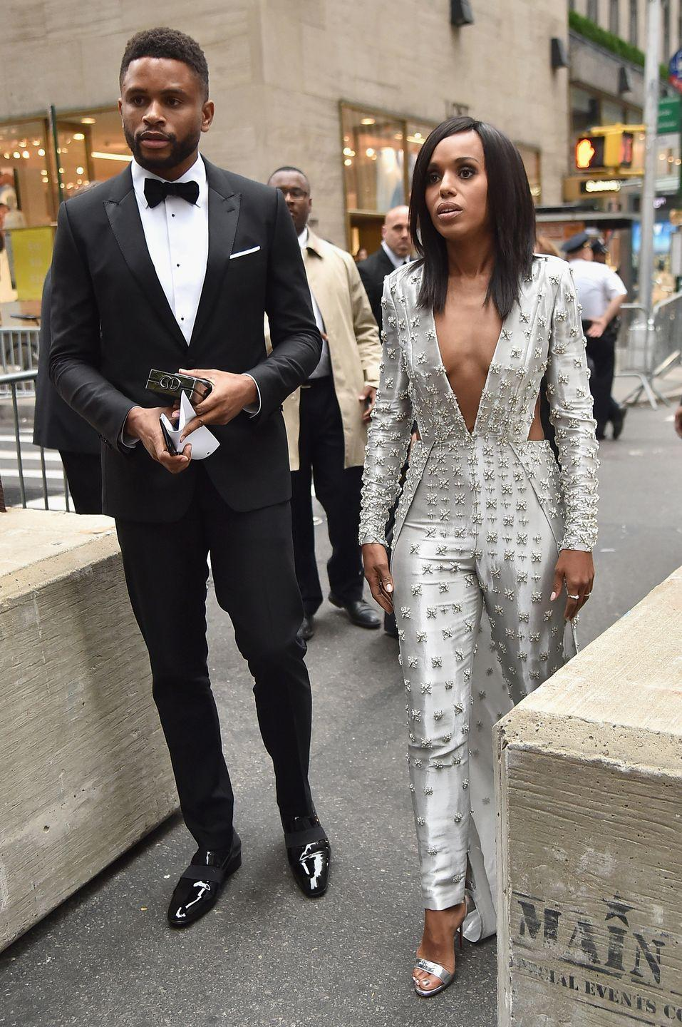 "<p>Kerry Washington keeps her private life, well, private, which is why some might not know she is married to famous cornerback Nnamdi Asomugha. Kerry and Nnamdi met while she was performing in Broadway's <em>Race</em>. ""The last time I did theater, it completely transformed my life. That's where I met my husband,"" Kerry told <a href=""https://www.oprahmag.com/entertainment/tv-movies/a31359878/kerry-washington-husband-nnamdi-asomugha/%E2%80%9CThe%20last%20time%20I%20did%20theater,%20it%20completely%20transformed%20my%20life.%20That%E2%80%99s%20where%20I%20met%20my%20husband.%E2%80%9D"" rel=""nofollow noopener"" target=""_blank"" data-ylk=""slk:Marie Claire"" class=""link rapid-noclick-resp""><em>Marie Claire</em></a> in 2018. The couple started dating in 2012 and was <a href=""https://people.com/celebrity/kerry-washington-weds-nnamdi-asomugha/"" rel=""nofollow noopener"" target=""_blank"" data-ylk=""slk:secretly married in 2013"" class=""link rapid-noclick-resp"">secretly married in 2013</a>.</p>"