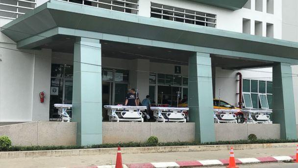 Stretchers are lined up at Chiangrai Prachanukroh Hospital in anticipation of the boys' removal. It is unclear how soon that will happen, however.  (ABC News)