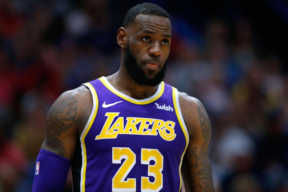 NEW ORLEANS, LOUISIANA - FEBRUARY 23: LeBron James #23 of the Los Angeles Lakers reacts during the first half against the New Orleans Pelicans at the Smoothie King Center on February 23, 2019 in New Orleans, Louisiana.NOTE TO USER: User expressly acknowledges and agrees that, by downloading and or using this photograph, User is consenting to the terms and conditions of the Getty Images License Agreement. (Photo by Jonathan Bachman/Getty Images)