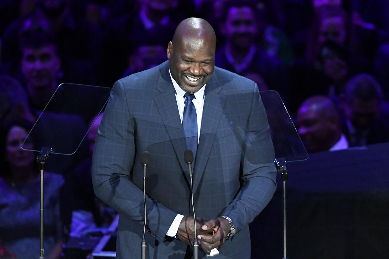 Shaquille O'Neal honored Kobe Bryant in the way only he could at Monday's memorial service. (Kevork Djansezian/Getty Images)