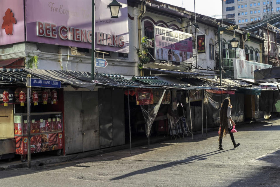 Seen here in the backdrop is Bee Cheng Hiang, which is located near the start of Jalan Hang Lekir's intersection with Jalan Sultan. — Picture by Shafwan Zaidon
