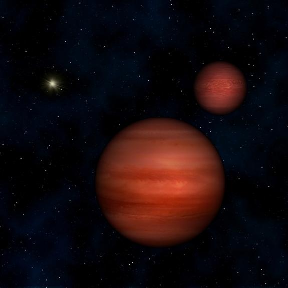 This image is an artist's conception of the binary system WISE J104915.57-531906 with the sun in the background.