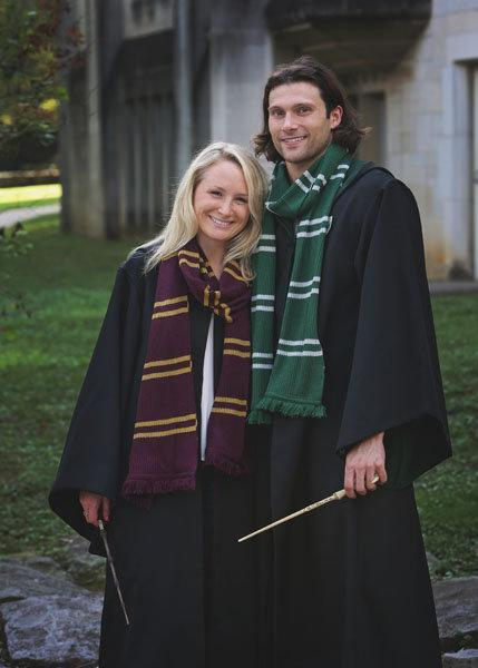 Cody Miller and his fiancée Ali Dewitt pose for Harry Potter-themed engagement photos.