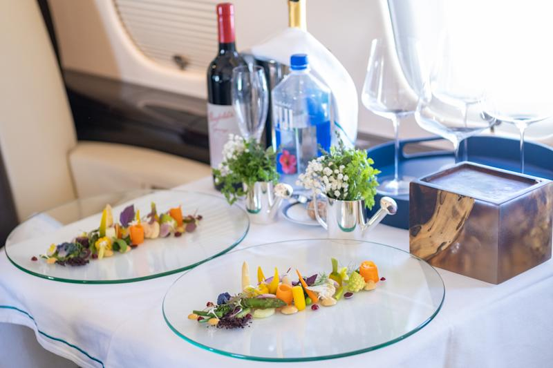 Meals onboard the Bombardier Global 6000 private jet. (PHOTO: The World's Most Exclusive Dinner)