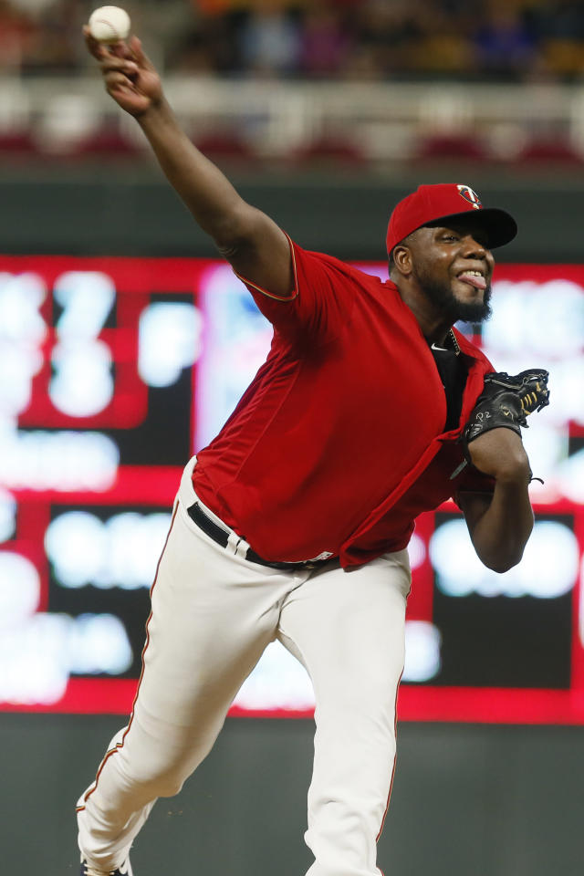 Minnesota Twins pitcher Michael Pineda throws against the Cleveland Indians in the first inning of a baseball game Friday, Sept 6, 2019, in Minneapolis. (AP Photo/Jim Mone)