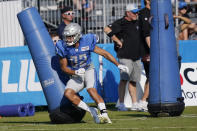 Detroit Lions receiver Chad Hansen runs a drill at the Lions NFL football camp practice, Wednesday, Aug. 4, 2021, in Allen Park, Mich. (AP Photo/Carlos Osorio)