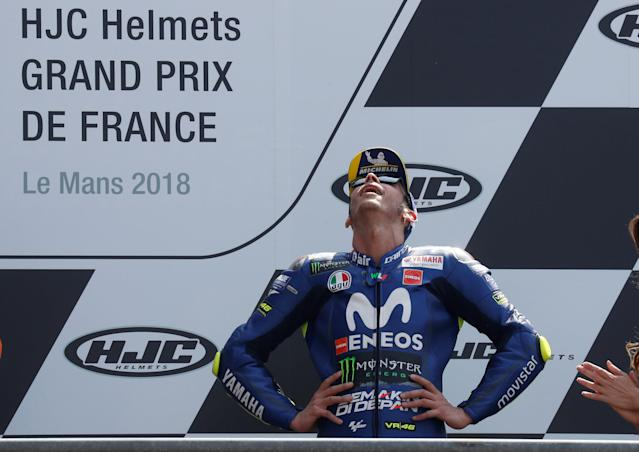Motorcycling - MotoGP - French Grand Prix - Bugatti Circuit, Le Mans, France - May 20, 2018 Movistar Yamaha MotoGP's Valentino Rossi reacts on the podium after the race REUTERS/Gonzalo Fuentes