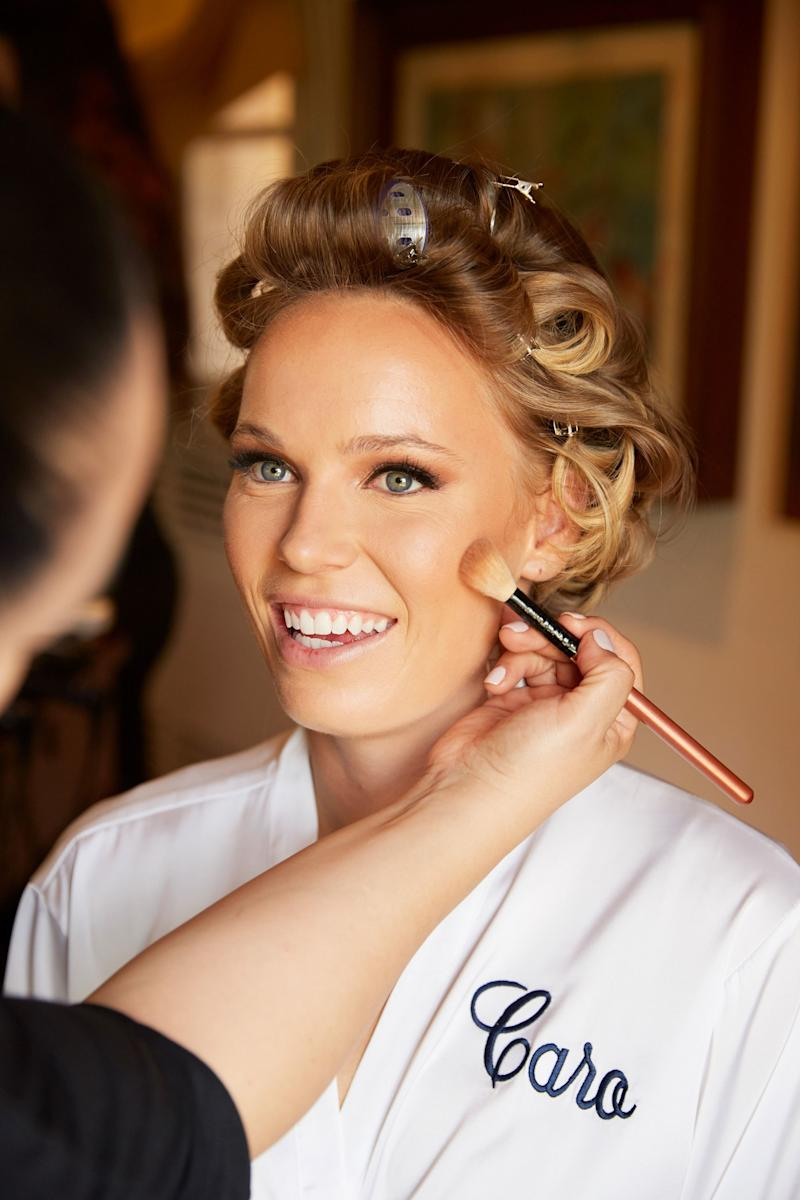 Meanwhile, Caroline had brunch and got ready with the bridesmaids. Here, Clarissa Luna (using Bite Beauty for Crosby Carter Management) get the bride aisle ready.