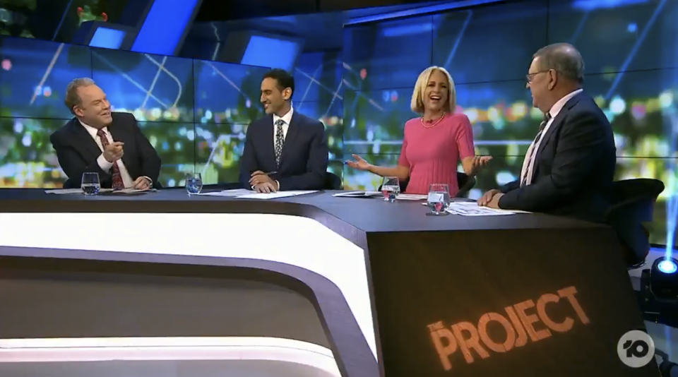 Peter Hellier, Waleed Aly and Steve Price and Carrie Bickmore on The Project