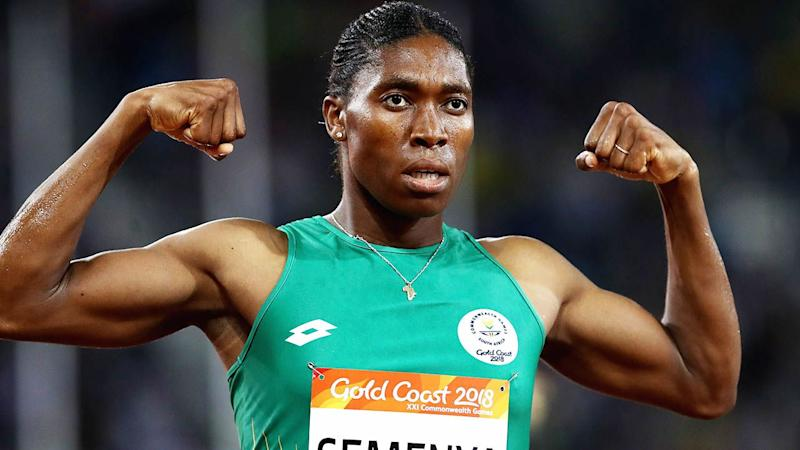 Caster Semenya celebrates winning gold in the 1500 metres at the Gold Coast 2018 Commonwealth Games.