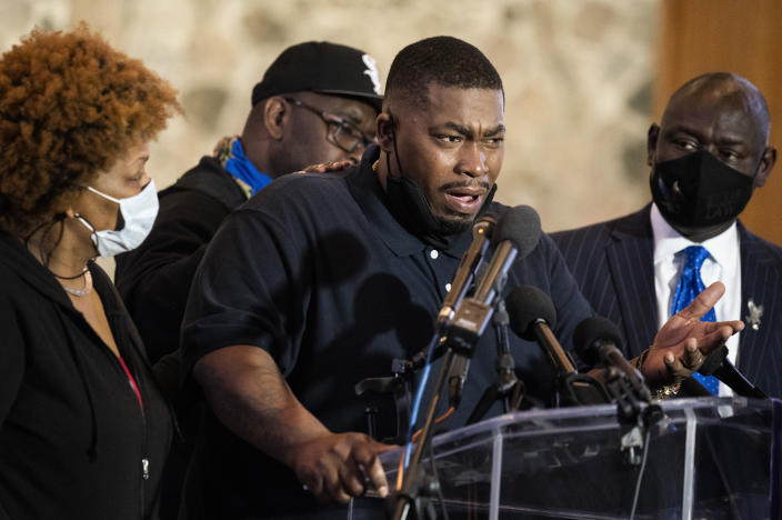 Aubrey Wright, father of the deceased Daunte Wright, speaks during a news conference at New Salem Missionary Baptist Church, Thursday, April 15, 2021, in Minneapolis. (AP Photo/John Minchillo)