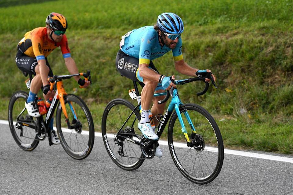 SAN DANIELE DEL FRIULI ITALY  OCTOBER 20 Jan Tratnik of Slovenia and Team Bahrain  Mclaren   Manuele Boaro of Italy and Astana Pro Team  Breakaway  during the 103rd Giro dItalia 2020 Stage 16 a 229km stage from Udine to San Daniele Del Friuli 249m girodiitalia  Giro  on October 20 2020 in San Daniele Del Friuli Italy Photo by Tim de WaeleGetty Images