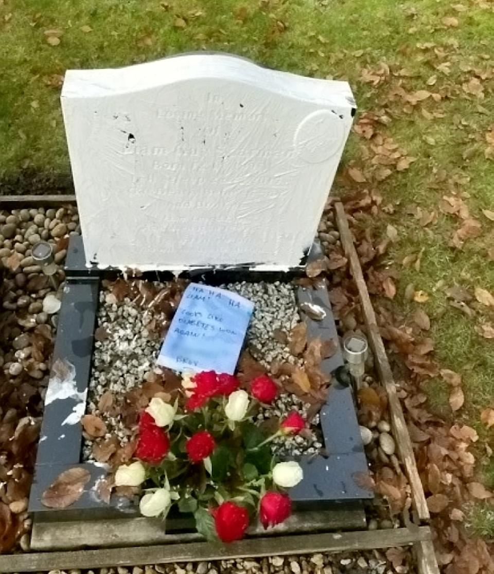 The gravestone was damaged by Julius in the middle of the night. (SWNS)