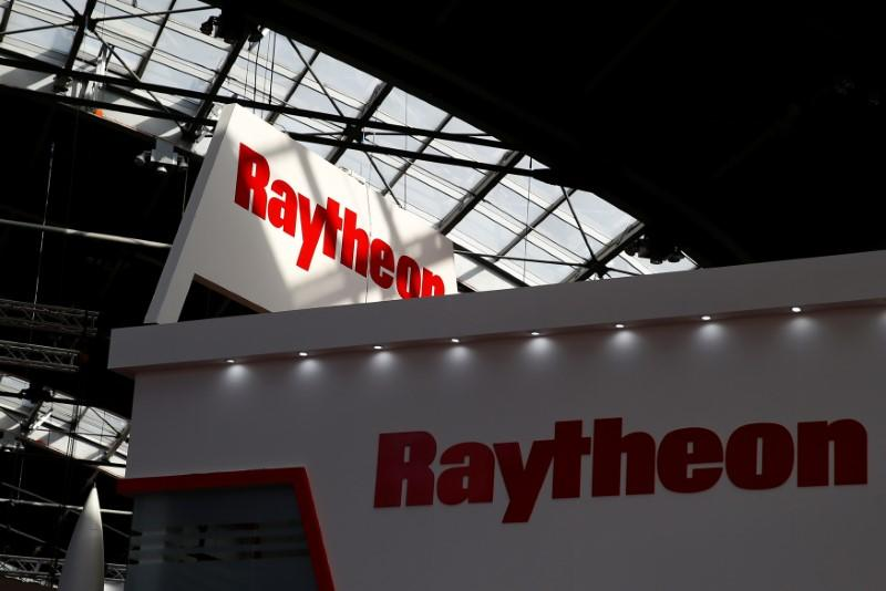 Logo of the U.S. defense company Raytheon is pictured at an international military fair in Kielce