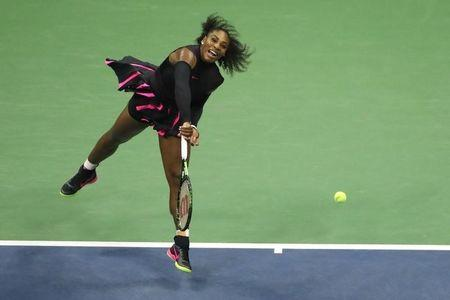 Sep 8, 2016; New York, NY, USA; Serena Williams of the United States serves to Karolina Pliskova of the Czech Republic on day eleven of the 2016 U.S. Open tennis tournament at USTA Billie Jean King National Tennis Center. Mandatory Credit: Anthony Gruppuso-USA TODAY Sports