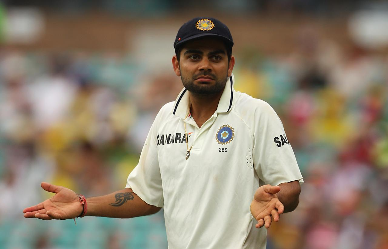 SYDNEY, AUSTRALIA - JANUARY 04:  Virat Kohli of India gestures to the crowd during day two of the Second Test Match between Australia and India at the Sydney Cricket Ground on January 4, 2012 in Sydney, Australia.  (Photo by Mark Kolbe/Getty Images)