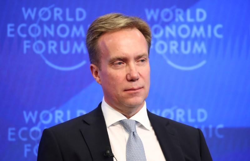 WEF President Borge Brende attends a news conference ahead of the Davos annual meeting in Cologny near Geneva