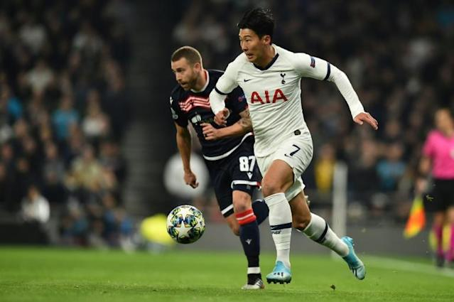 Son Heung-min netted twice, as did Harry Kane, in Tottenham's 5-0 defeat of Red Star Belgrade (AFP Photo/Glyn KIRK )