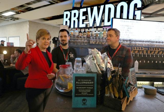 Sturgeon at Edinburgh Airport BrewDog
