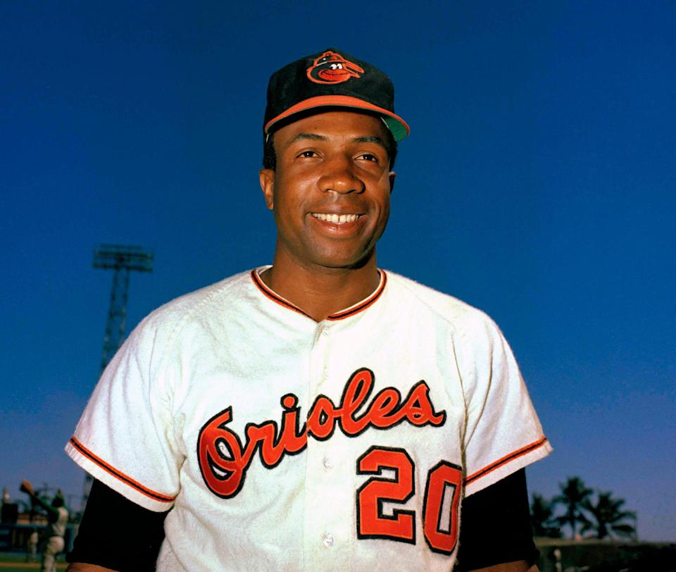 In this 1967 file photo, Baltimore Orioles outfielder Frank Robinson smiles. Hall of Famer Frank Robinson, the first black manager in Major League Baseball and the only player to win the MVP award in both leagues, has died. He was 83. Robinson had been in hospice care at his home in Bel Air. MLB confirmed his death Thursday, Feb. 7, 2019.