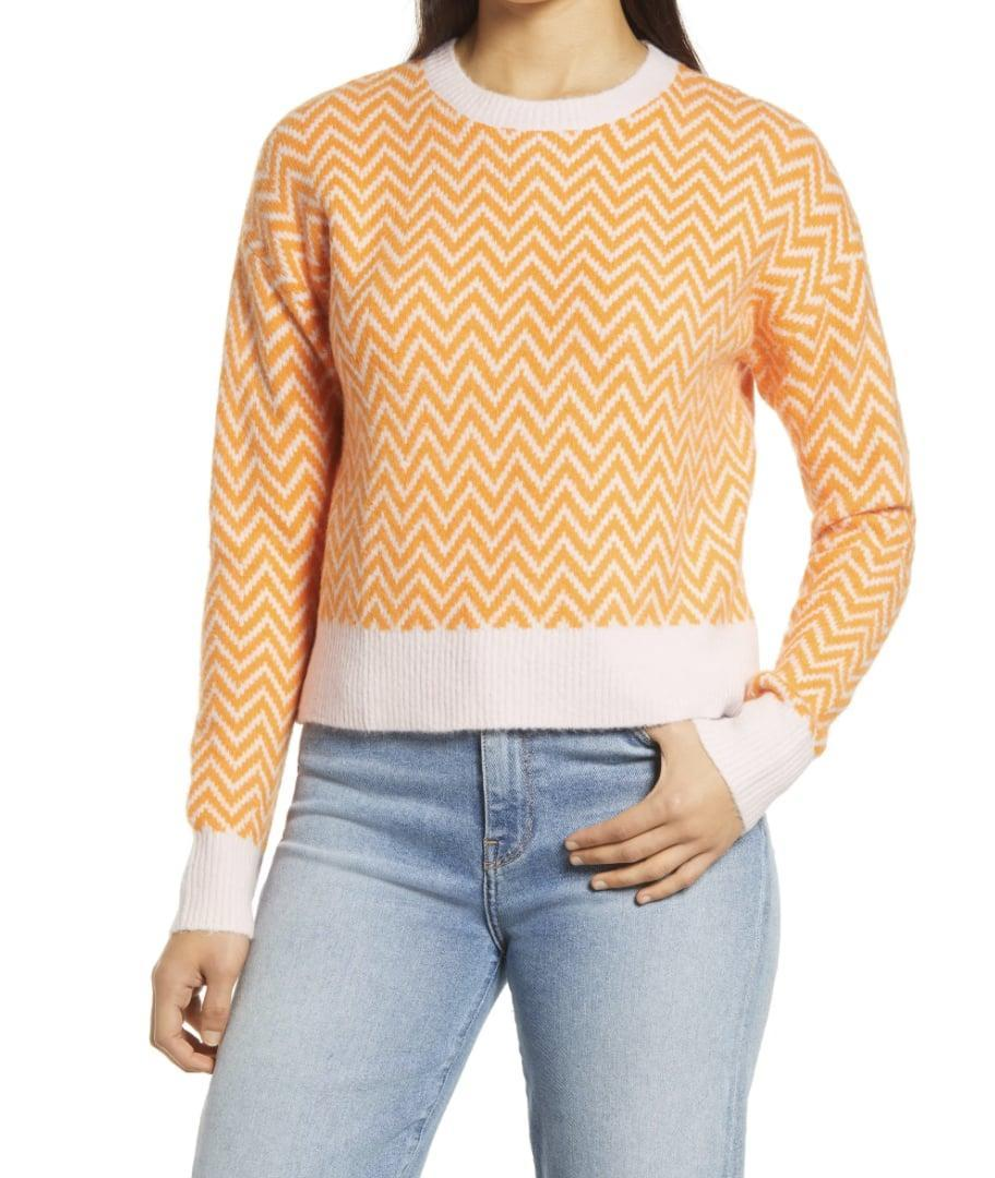 <p>You'll definitely stand out in this <span>Halogen x Atlantic-Pacific Boxy Zigzag Sweater</span> ($20, originally $79).</p>
