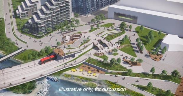 The City of Calgary is holding online engagement sessions about new renderings of the Green Line project through the downtown area.  (City of Calgary - image credit)