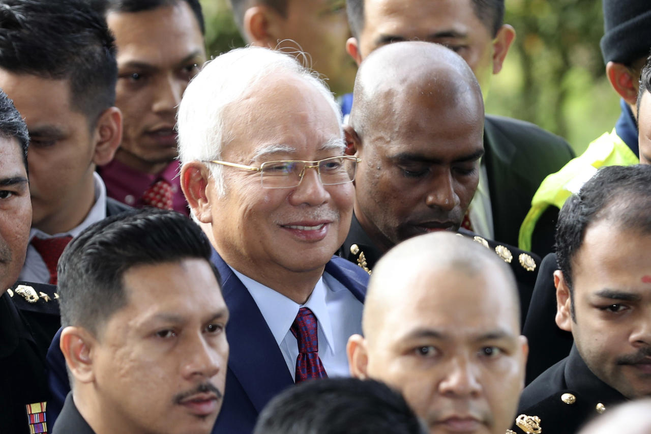 <p>Former Malaysian prime minister Najib Razak arriving at the Kuala Lumpur Courts Complex on Wednesday (4 July) morning. (PHOTO: Associated Press) </p>