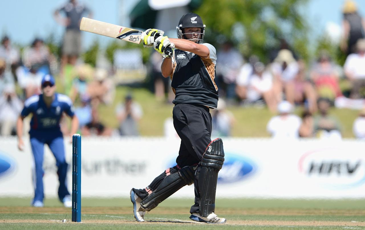 WHANGAREI, NEW ZEALAND - FEBRUARY 06:  Anton Devcich of a New Zealand XI bats during a T20 Practice Match between New Zealand XI and England at Cobham Oval on February 6, 2013 in Whangarei, New Zealand.  (Photo by Gareth Copley/Getty Images)