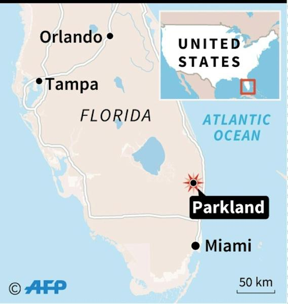 Map locating Parkland, Florida, where at least 17 people were killed in a shooting at a high school