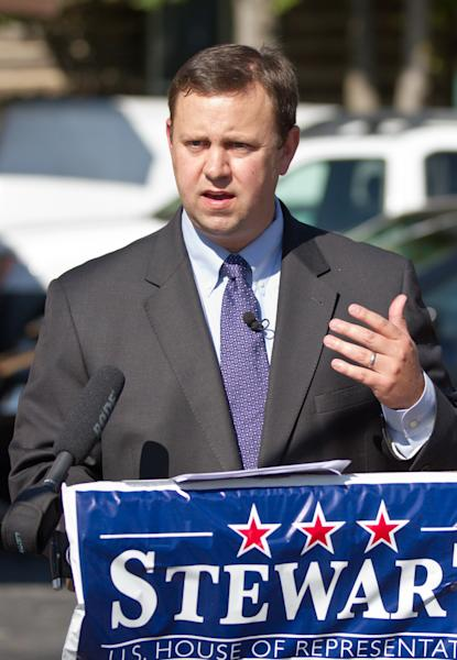 State Sen. Eric Stewart, a Democratic congressional candidate, campaigns in Murfreesboro, Tenn., on Wednesday, Oct. 10, 2012. Stewart criticized U.S. Rep. Scott DesJarlais, his Republican opponent in the race, for a transcript of a recorded telephone conversation that appears to recount how the freshman congressman urged his pregnant mistress to get an abortion more than a decade ago. (AP Photo/Erik Schelzig)