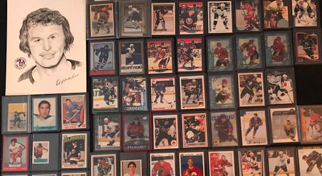 Naim Cardinal posted a photo of his hockey card collection to Twitter last week. (Twitter/@NaimCardinal)