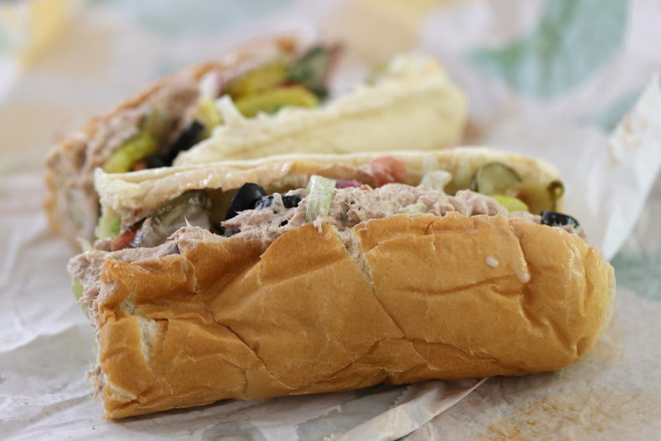 SAN ANSELMO, CALIFORNIA - JUNE 22: A tuna sandwich from Subway is displayed on June 22, 2021 in San Anselmo, California. A recent lab analysis of tuna used in Subway sandwiches commissioned by the New York Times did not reveal any tuna DNA in samples taken from Subway tuna sandwiches. The lab was unable to pinpoint a species in the tuna samples from three Los Angeles area Subway sandwich shops. (Photo Illustration by Justin Sullivan/Getty Images)