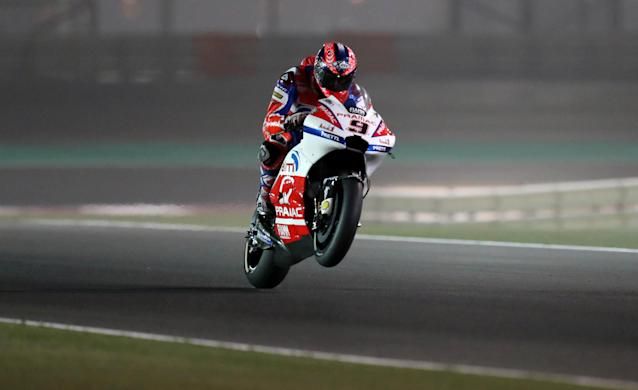 Motorcycle Racing - Qatar Motorcycle Grand Prix - MotoGP Second Qualifying Session - Losail, Qatar, March 17, 2018 - Alma Pramac Racing rider Danilo Petrucci of Italy competes. REUTERS/Ibraheem Al Omari