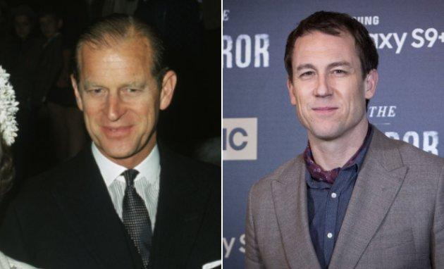 "Left: Prince Philip at the dedication of a Knights Bachelor temple in London in July 1968. Right: Tobias Menzies at the premiere of ""The Terror"" in Madrid in March 2018."