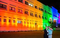 The US embassy in Costa Rica is lit up in the colors of the rainbow flag during Pride month in June 2016 when President Joe Biden was vice president