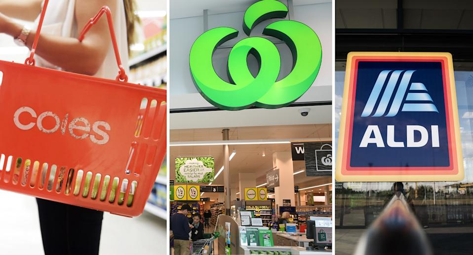 Australia's leading supermarkets Coles, Woolworths and Aldi seen here.