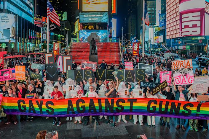 <p>Gays Against Guns organized a rally and march from Union Square Park to Times Square on October 2, 2017, in response to the Las Vegas massacre, hundreds marched raising their voices to declare that gun violence is an epidemic, gun violence is a public health crisis, gun violence is curable and it is not acceptable that americans are getting slaughtered as a result of gun violence. (Photo: Erik Mcgregor/Pacific Press via ZUMA Wire) </p>