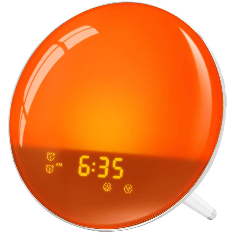 """<strong><h3><a href=""""https://amzn.to/2PgvtiJ"""" rel=""""nofollow noopener"""" target=""""_blank"""" data-ylk=""""slk:Latme Sunrise Alarm Clock Wake-Up Light"""" class=""""link rapid-noclick-resp"""">Latme Sunrise Alarm Clock Wake-Up Light</a></h3></strong><br>This wake-up clock boasts multiple colors and brightness scales that range from soft sunrises to deep sunsets. <br><br><strong>LATME</strong> Sunrise Alarm Clock Wake-Up Light, $, available at <a href=""""https://amzn.to/364ljHS"""" rel=""""nofollow noopener"""" target=""""_blank"""" data-ylk=""""slk:Amazon"""" class=""""link rapid-noclick-resp"""">Amazon</a>"""