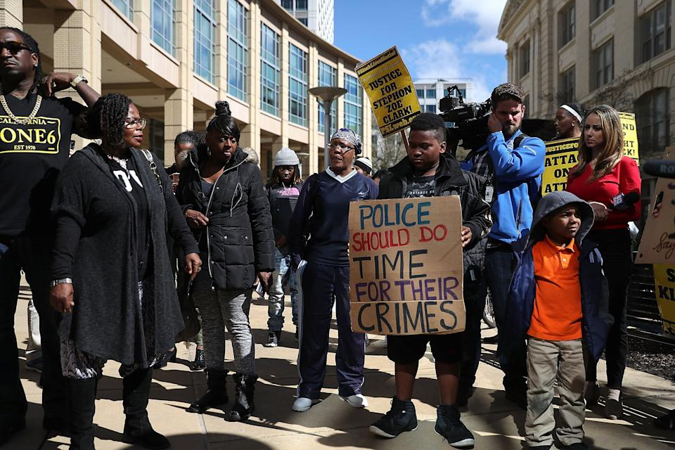 Black Lives Matter protesters stage a demonstration outside of Sacramento City Hall.