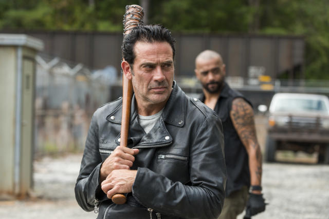 <p>He is a badass, no doubt, but his smarmy villainy can get cartoonish — like the over-the-top theatrical way he killed Glenn and Abraham. Murder doesn't need to be entertainment.<br><br>(Photo: AMC) </p>