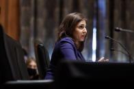 Neera Tanden testifies before the Senate Homeland Security and Government Affairs committee on her nomination to become the Director of the Office of Management and Budget (OMB), during a hearing Tuesday, Feb. 9, 2021 on Capitol Hill in Washington. (Ting Shen/Pool via AP)