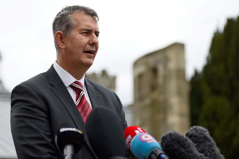 FILE PHOTO: Democratic Unionist Party's (DUP) Edwin Poots makes a statement to the media outside Stormont Castle in Belfast