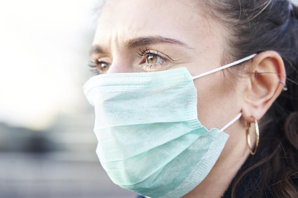 Close Up Of Young woman wearing face mask while walking in the streets of London