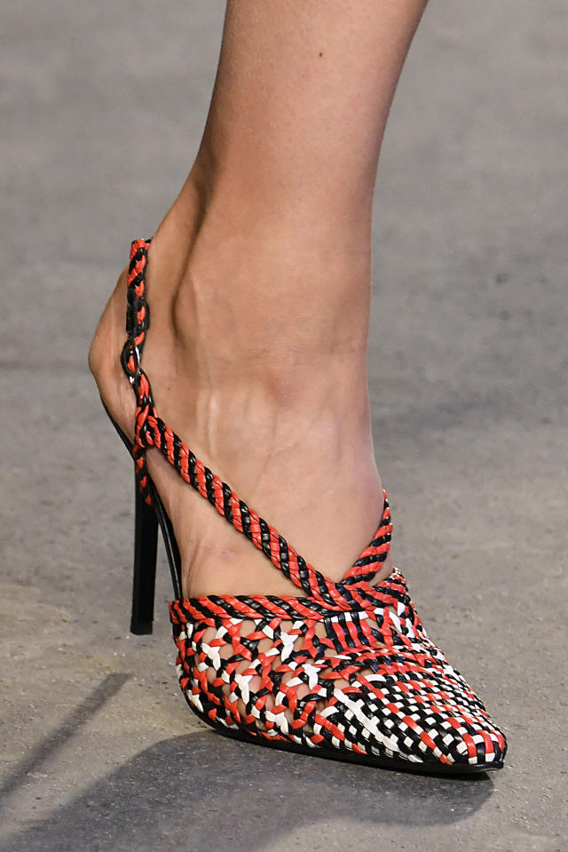 <p><i>Red, black, and white woven heels from the SS18 Altuzarra collection. (Photo: Getty) </i></p>