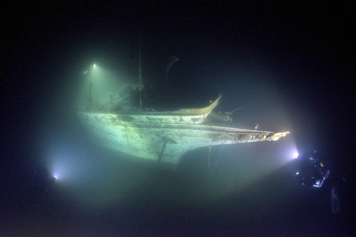 "<p>""I've never seen anything like it in all my years of shipwreck diving. For me it was almost surreal being there. I'd dreamed of seeing this shipwreck and it took years of experience both in diving and photography to be able to safely capture the images I saw in my mind."" (Photo: Becky Kagan Schott/Caters News) </p>"
