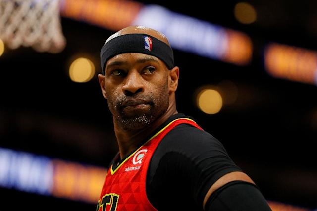 Vince Carter says he will return for a record 22nd NBA season, but it might not be with the Atlanta Hawks, for whom he played last season (AFP Photo/Kevin C. Cox)