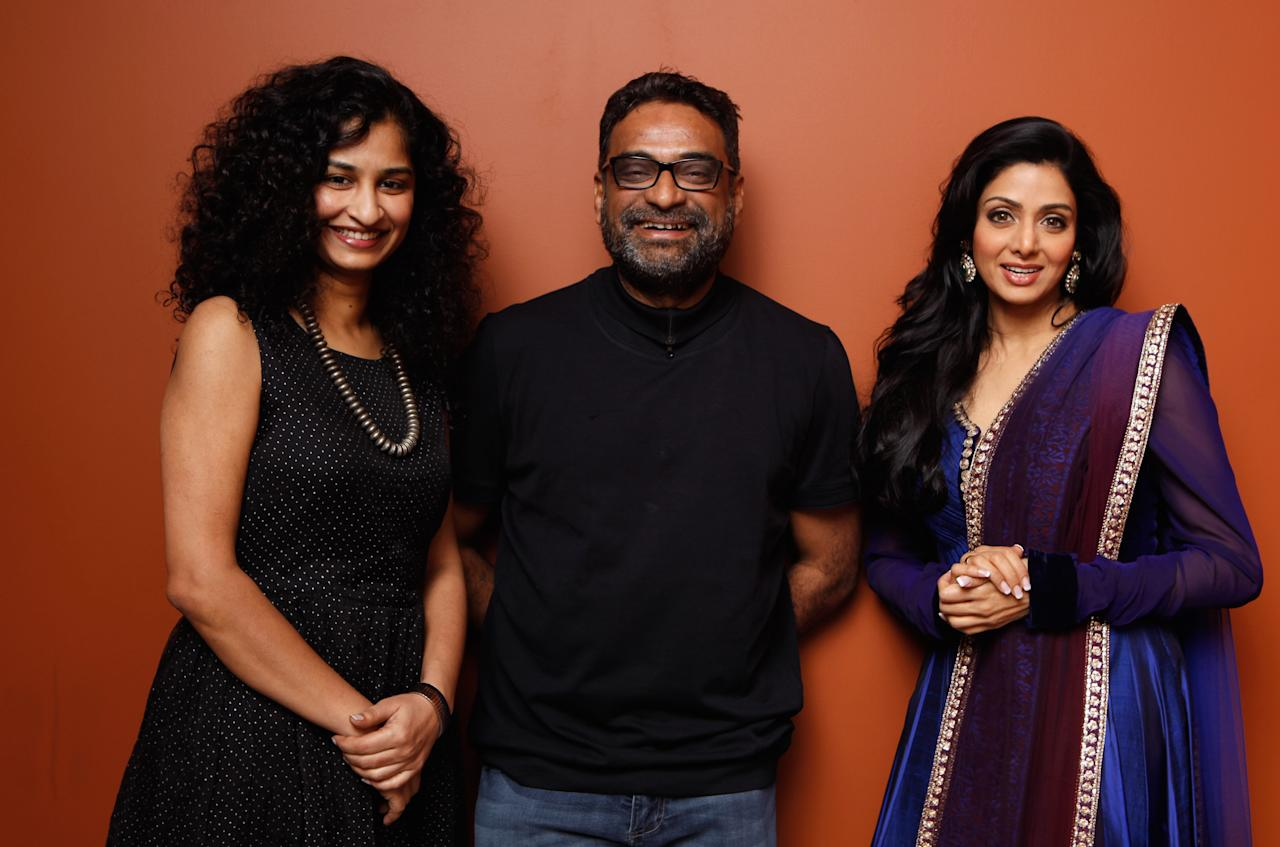 "TORONTO, ON - SEPTEMBER 12:  (L-R) Director Gauri Shinde, producer R. Balki and actress Sridevi of ""English Vinglish"" pose at the Guess Portrait Studio during 2012 Toronto International Film Festival on September 12, 2012 in Toronto, Canada.  (Photo by Matt Carr/Getty Images)"