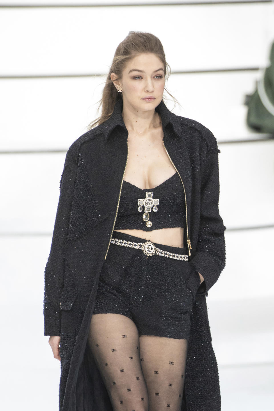 Model Gigi Hadid wears a creation for the Chanel fashion collection during Women's fashion week Fall/Winter 2020/21 presented in Paris, Tuesday, March 3, 2020. (Photo by Vianney Le Caer/Invision/AP)