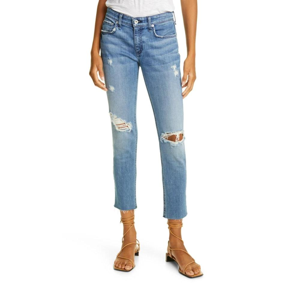 """With a relaxed fit and ever so slightly distressing at the knees and hips, we love everything about these Rag & Bone jeans. Wear it with a colorful turtleneck and those black leather sneakers you're thinking about adding to cart. $255, Nordstrom. <a href=""""https://www.nordstrom.com/s/rag-bone-dre-ripped-slim-ankle-boyfriend-jeans-aviation-way/5714803?"""" rel=""""nofollow noopener"""" target=""""_blank"""" data-ylk=""""slk:Get it now!"""" class=""""link rapid-noclick-resp"""">Get it now!</a>"""